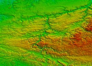 SRTM elevation of the Ardennes region